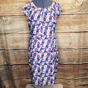 Boden Silk Floral Print Cap Sleeve Sheath Dress 16
